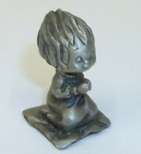 Vintage Betsey Clark Pewter Figurine Girl Saying Bedtime Prayers