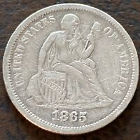 1865 S Seated Liberty Dime 10c Better Grade VF - XF Details RARE  #24363