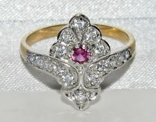 Art Deco 9ct Yellow Gold on Silver Ruby & White Zircon Cluster Ring - size R