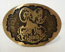 Cedar Oak Ranch Belt Buckle Vintage Blue Bayou Brass Houston Texas Sheep Ram