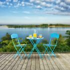 Outdoor Bistro Set Garden Furniture Blue Chairs Seats Table Painted Blue Metal