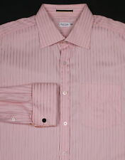 * PAUL SMITH * Pink Striped w/ Floral Inside French Cuff Dress Shirt 16.5-35