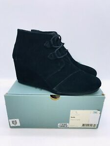 TOMS Women's Kala Booties Wedge Ankle Oxford Boots Black Suede