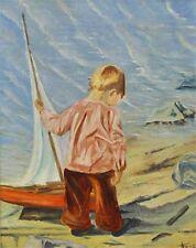 Petit garçon à la plage avec voilier sign. Frank