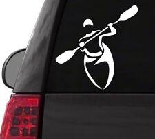 I133 Man Kayaking in Kayak w/paddles River Lake vinyl decal car sticker