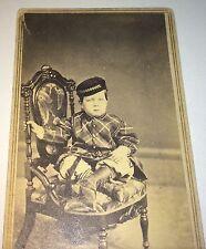 Antique American Civil War Era Fashion Hat Boy Frank! Burlington, Iowa CDV Photo