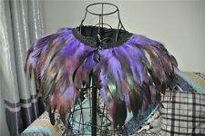 Purple velvet feather cape, party feather shrug, capulet 3 ply