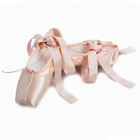 Women Girls Ladies Satin New Dancing Pink Professional Pointe Ballet Dance Shoes