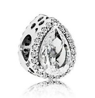 925 Sterling Silver Glamour Radiant Teardrop Charm Clear CZ Bead For Bracelet
