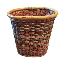 Wicker Rattan Waste Paper Basket Trash Can Bamboo Rim Handmade Colorful 12