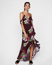 NEW AS IS Express Floral Ruffle Cold Shoulder Maxi Dress Purple Hi Low Sz XS