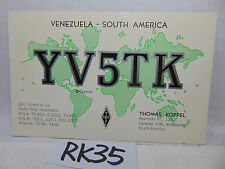 VINTAGE QSL CARD AMATEUR RADIO POSTAL HISTORY 1977 CARACAS VENEZUELA WORLD MAP