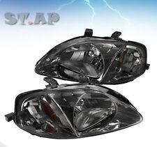 Fit 99-00 Honda Civic Crystal Replacement Headlight Smoke / Amber Reflector Lamp