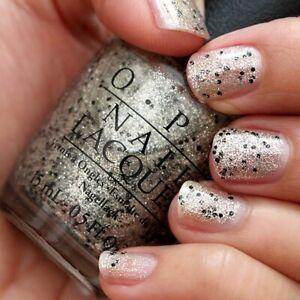 OPI Mariah WONDEROUS STAR Gold Glitter Black Flake Nail Polish Lacquer .5oz E12