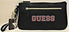 NWT GUESS RILEY WRISTLET BAG Black Logo Clutch Pouch Handbag Wallet GENUINE