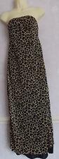 Ladies leopard print  chiffon jersey strapless long  dress Size 10/12