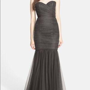 New Amsale Womens Black Goth Wedding Dress Sleeveless Mermaid Formal Dress 10