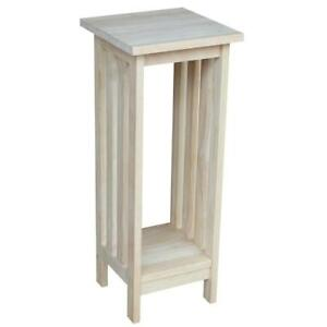 Mission Unfinished Indoor Plant Stand Wood Accent Table DIY Decor to Paint Stain