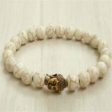 Wonderful  8mm Howlite Buddha Bracelet 7.5 inches