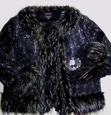 GIAMBATTISTA VALLI BLACK FAUX FUR TRIM SEQUIN LACE FULLY LINED JACKET size S NWT