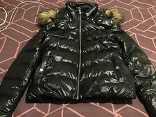ZARA BLACK DOWN SHINY PUFFER PUFFA PADDED QUILTED COAT JACKET FUR HOOD SZ XL VGC