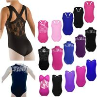 Kids Girls Gymnastics Ballet Dance Leotards Children Sleeveless Workout Bodysuit