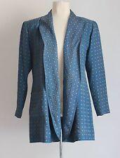 Jean Muir Fortnum Mason Blue Geo Print Silk Summer Jacket Sz Uk 10/12 *Sun Faded