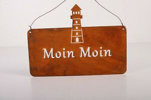 Moin Moin Edelrost Tafel Schild mit Leuchtturm zum hängen Garten Deko Rost