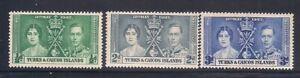 Turks & C.   1937   Sc # 75-77   Coronation   MLH   (5044-)