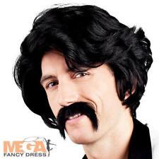 80s Black Wig & Moustache Mens Fancy Dress 1980s Celebrity Costume Accessory Set