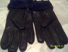 leather glove  ladies col brown  with faux fur trim fleece lined size m-l