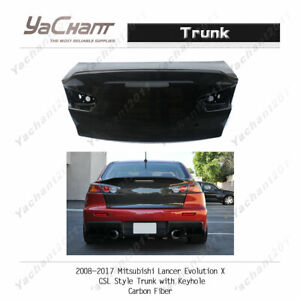Carbon Boot Lid For 08-17 Mitsubishi Lancer EVO 10 EVO X CSL Trunk w/ KeyHole