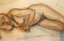 VINTAGE PASTEL PAINTING EXPRESSIONIST NUDE WOMAN PORTRAIT