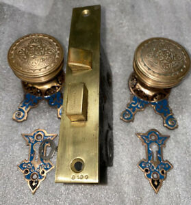 Doorknobs Rosettes & Keyholes Cover Custom  Blue Peacock Blue & Black Enameled
