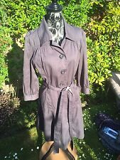 ladies salt and pepper cotton blend dress trench coat belted mac