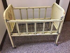 Vintage Yellow Metal Amsco Doll-E-Crib Lamb Decals Adjustable Side Rail 1950s