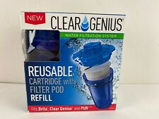 CLEAR GENIUS Reusable Water Cartridge w/ Filter Pod Refill, Filtration System