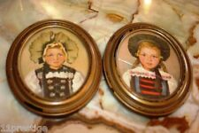 A & C RICHARDS MASS BOSTON PAIR OF  FRAMED PORTRAIT PICTURES  OF SWISS MAIDEN