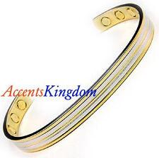 Accents Kingdom Men's Magnetic Copper Golf Bangle Cuff Bracelet Stripes