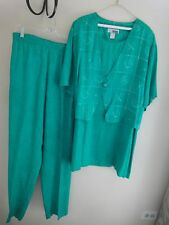Green White Short Sleeve Faux Vest-Look Top Tunic w/ FREE Slacks 3X 24 26 28