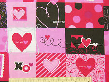 Valentine Valentine's Day Hearts Patch Love Romance Cotton Fabric   BTY  (D1) ^