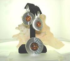 Solid 925 Silver Genuine Baltic Sea Round Honey Amber Pendant Earrings Set #3