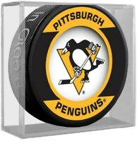 Pittsburgh Penguins NHL Team Logo Retro Souvenir Hockey Puck in Display Cube