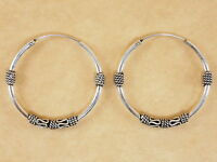 New Oxidized 925 Sterling Silver Byzantine Bali Style Round Hoops Earrings 30mm