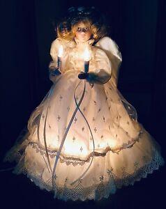 "VTG LIGHTED ANGEL CHRISTMAS TREE TOPPER TABLE TOP 12"" PORCELAIN HEAD HANDS &CASE"