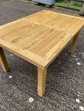 Solid Oak Modern Extending Dining / Kitchen Table With 2 Leaf Extension