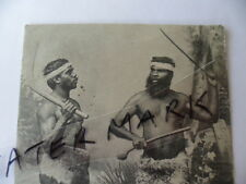 ANTIQUE VINTAGE POSTCARD ABORIGINAL MEN BOOMERANG NULLA NULLA FIGHTING STICK
