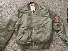 NWT Alpha Industries MA-1 Slim Fit Bomber Jacket in Vintage Olive Green sz XL