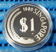 1980 Singapore $1 Stylised Lion Silver Proof Coin with Box and Certificate
