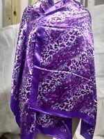 New Animal Pattern Pashmina Silk Cashmere Shawl Scarf Stole Wrap In Purple psr39